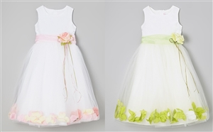 #KD160B pink-lime : Flower Petal Dress