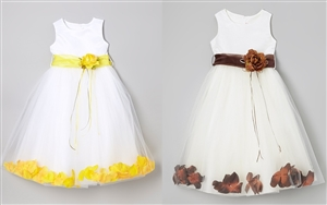 #KD160B yellow-choco : Flower Petal Dress