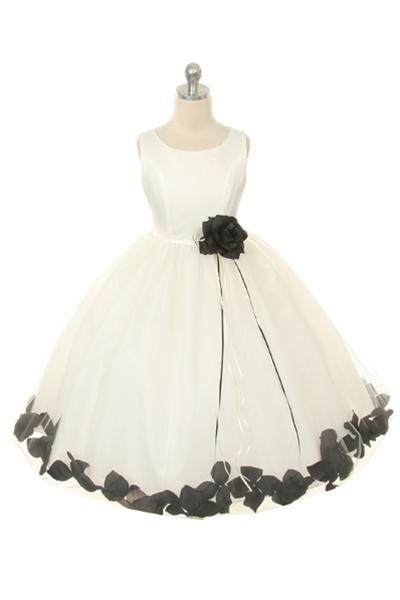 1234a267da6 Flower Girl Dresses  KD160BK   Dupioni Silk or Satin Bodice Petal Flower  Girl Dress