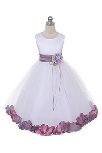 Flower Girl Dresses #KD160S-WLA: Flower Petal Dress with Organza Sash