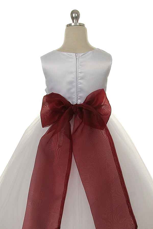 cc6bf6e0a7 ... .White  Ivory satin bodice with different colors of sash and petal  flower girl dress.