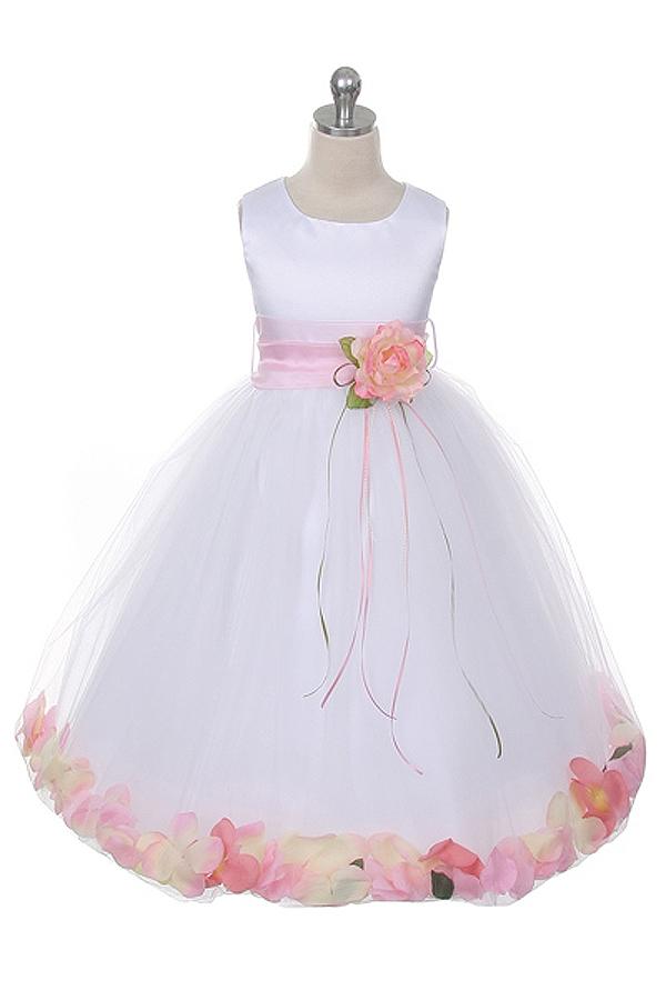 a9780185da Flower Girl Dresses  KD160S-WPK  Flower Petal Dress with Organza Sash