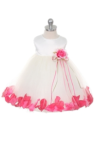 Flower Girl Dresses #KD195IVF : Elegant satin bodice with floating flower petals inside skirt.