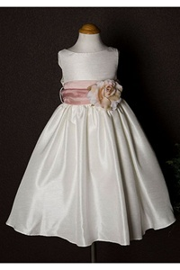 Flower Girl Dresses #KD204IV-RO  : Poly Silk Sleeveless Dress with Different Color Removable Sash