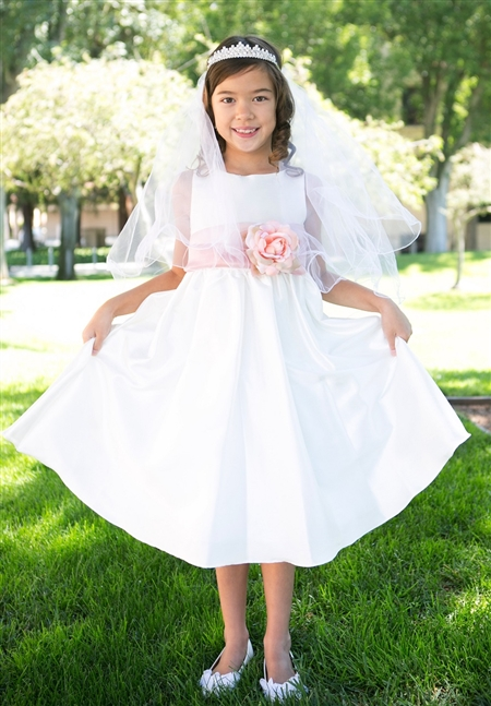 #KD204N : Poly Silk Organza Sash Girl Dress