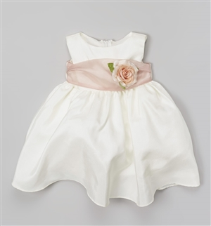 #KD204NB dustyrose : Poly Silk Organza Sash Girl Dress
