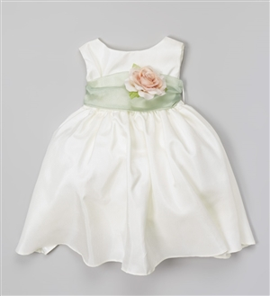 #KD204NB sage-rose : Poly Silk Organza Sash Girl Dress