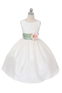 Flower Girl Dresses #KD204SA  : Poly Silk Sleeveless Dress with Different Color Removable Sash