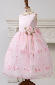 flower girl dresses#KD220PK  : Pink Satin Bodice with Embroidered Sheer Organza Skirt.