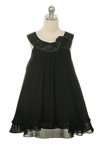 Flower Girl Dresses #KD255BK : Crinkle Sheer Chiffon Dress with Solid Lining