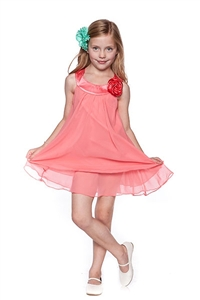 Flower Girl Dresses #KD255CO : Crinkle Sheer Chiffon Dress with Solid Lining