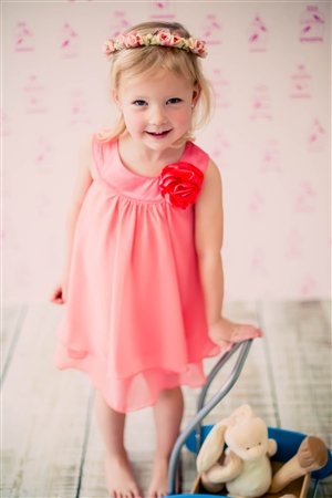Flower Girl Dresses #KD255FU : Crinkle Sheer Chiffon Dress with Solid Lining