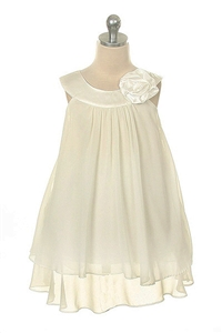 Flower Girl Dresses #  KD255IV : Crinkle Sheer Chiffon Dress with Solid Lining