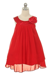 Flower Girl Dresses #KD255RD : Crinkle Sheer Chiffon Dress with Solid Lining