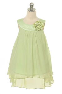 Flower Girl Dresses #KD255SA : Crinkle Sheer Chiffon Dress with Solid Lining