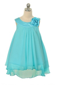 Flower Girl Dresses #KD255TU  : Crinkle Sheer Chiffon Dress with Solid Lining