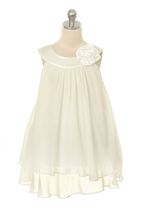 Flower Girl Dresses #KD255WH : Crinkle Sheer Chiffon Dress with Solid Lining