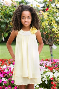 Flower Girl Dresses # KD255YE : Crinkle Sheer Chiffon Dress with Solid Lining