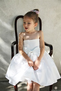 Flower Girl Dresses# KD259WH : Satin Strapless Bow Accented Flowergirl Dress