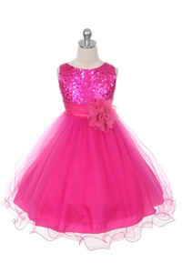 Flower Girl Dresses #KD305F : Stunning Sequined Bodice with Double Layered Mesh