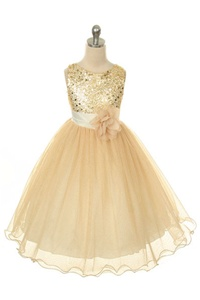 Flower Girl Dresses #KD305G : Stunning Sequined Bodice with Double Layered Mesh