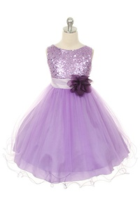 Flower Girl Dresses #KD305L : Stunning Sequined Bodice with Double Layered Mesh