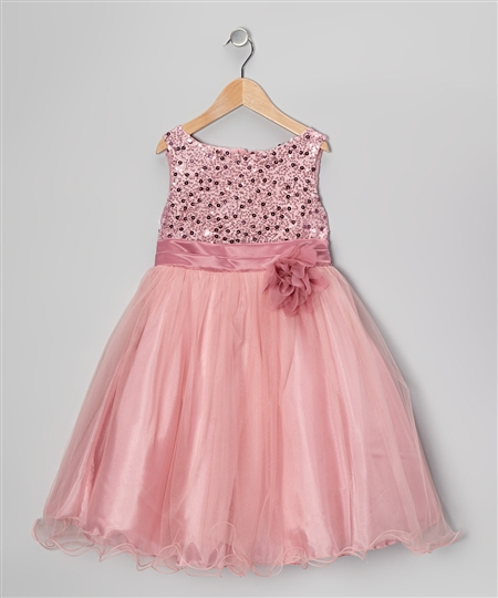 #KD305N dusty rose : Sequin Girl Party Dress