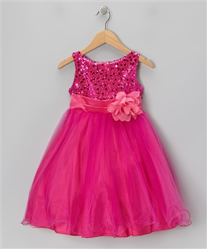 #KD305N fuchsia : Sequin Girl Party Dress