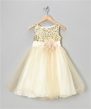 #KD305N gold : Sequin Girl Party Dress