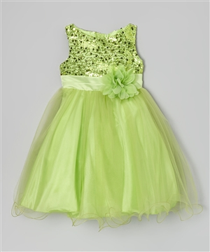 #KD305N lime : Sequin Girl Party Dress