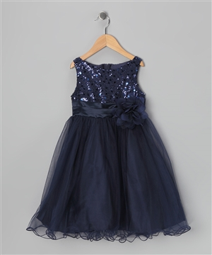 #KD305N navy blue : Sequin Girl Party Dress