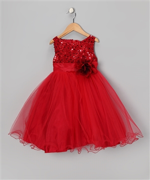 #KD305N red : Sequin Girl Party Dress