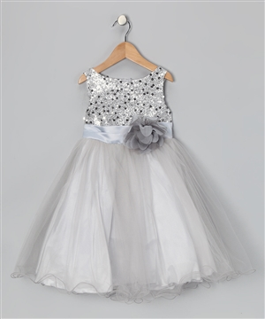#KD305N silver : Sequin Girl Party Dress