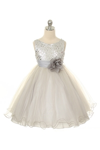 Flower Girl Dresses #KD305S : Stunning Sequined Bodice with Double Layered Mesh