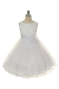 Flower Girl Dresses #KD305W : Stunning Sequined Bodice with Double Layered Mesh