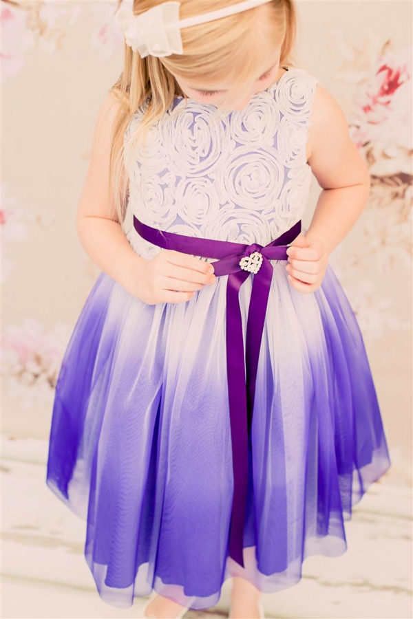 f37170385 Flower Girl Dresses #KD322P : Stunning ombre dress with rosette top. Larger  Photo .