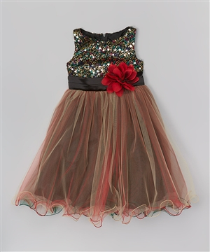 #KD327 red : Multi-Sequin Trio Color Tulle Dress