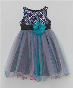 #KD327 teal blue : Multi-Sequin Trio Color Tulle Dress