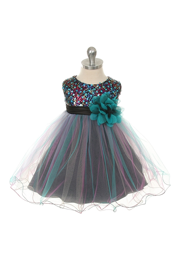 a239b47a08595 Flower Girl Dresses #KD328TU : Multi-Sequin Trio Color Tulle Dress Larger  Photo .