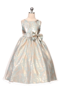 Flower Girl Dress #KD350 Paisley Jacquard Dress with an Organza Overlay