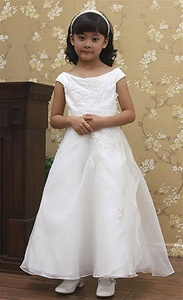 Flower Girl Dresses #KD8035 : Satin Dress with Organza Overlay