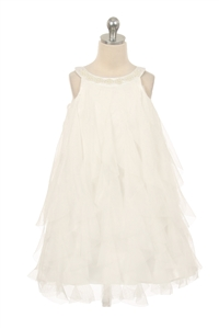 Flower Girl Dresses #KD8055 : Mesh ruffle dress with pearl beading on the neckline