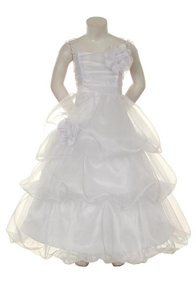 1c6016d4b5 Flower Girl Dresses  KK2043W   Adorable Soft Organza Dress w  Tiered Bubble  Skirt   Larger Photo .