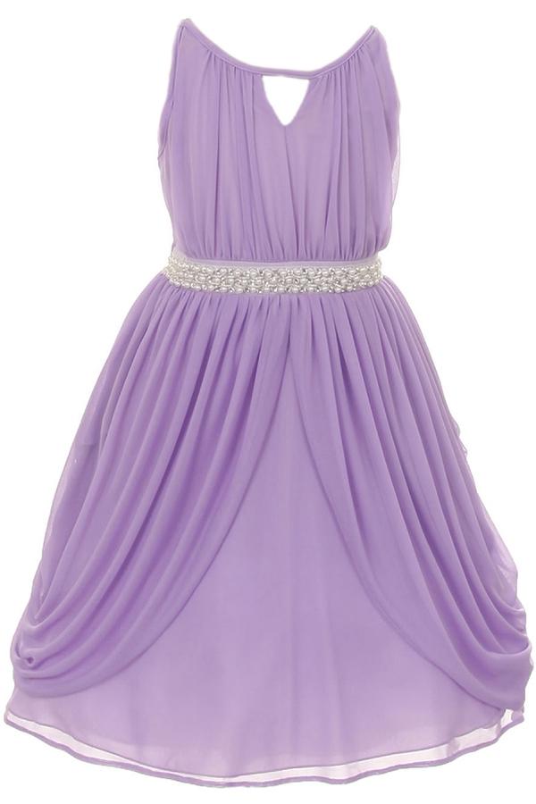 Elegant Grecian Chiffon Gown with Pearl & Crystal (#KK2071)