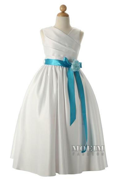 V Neckline Sleeveless Satin Long Flower Girl Dress