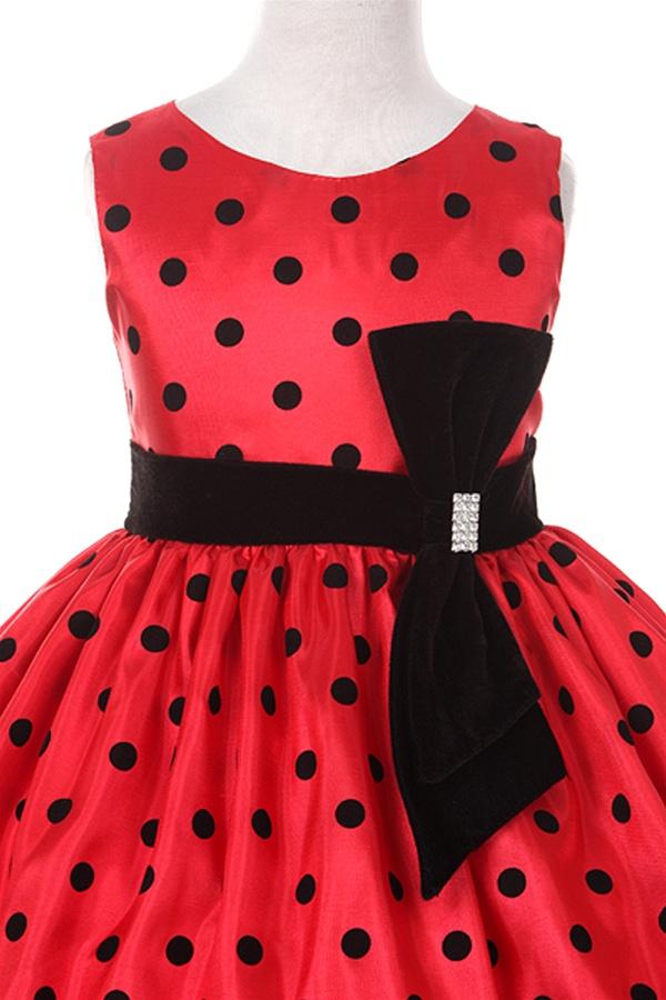 Flower Girl Dresses Kk6340 Black Flock On Red Taffeta Dress With