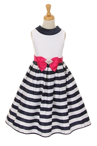 Darling Striped Satin Sailor Dress with a Bow (#KK6360)