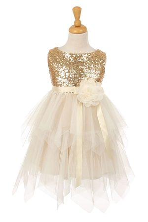 #KK6370 gold : Sleeveless Tulle Dress with Sequin Bodice