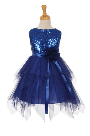#KK6370 royal : Sleeveless Tulle Dress with Sequin Bodice