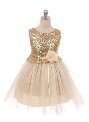 #KK6428 champagne : Sequin Bodice Flower Girl Dress with Double Layered Mesh Skirt